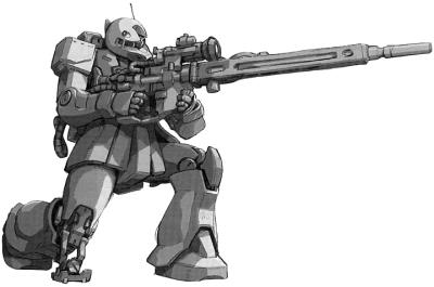MS-05L Zaku I Sniper Type in sniping mode